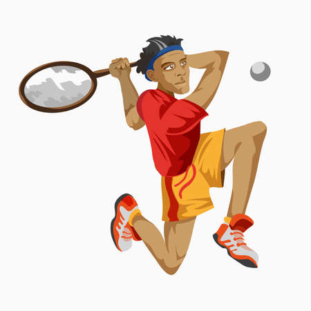 Cool tennis player with a racket in his hand. Sporting Championship People Competition. Sport Infographic Shot Put Athletics events. White background. Drawn in a flat style.