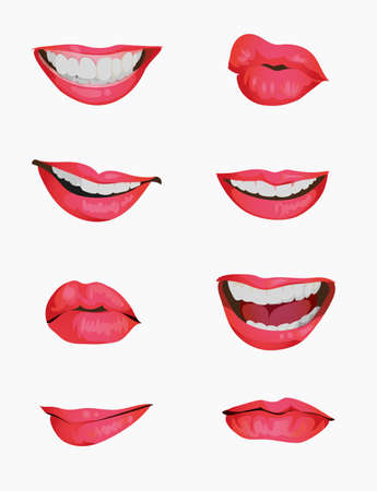 Set mouth emotions animation. Lip sync animated phonemes for woman character sign. Mouths with red lips speaking animations in english language text for education shape isolated symbol vector set Ilustração Vetorial