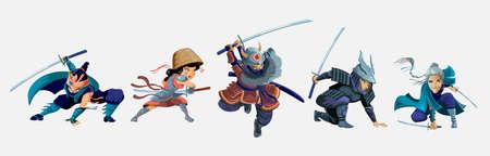 Collection with ninja, samurai,japanese girl and old woman warriors characters.Cartoon ninja samurai warriors with sword characters set. Isolated vector illustration