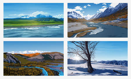 Beautiful summer and winter landscapes with an blue sky, rivers, trees, forest, mountains, clouds and snow peaks on background. Landscape backgrounds for your arts. Vetores