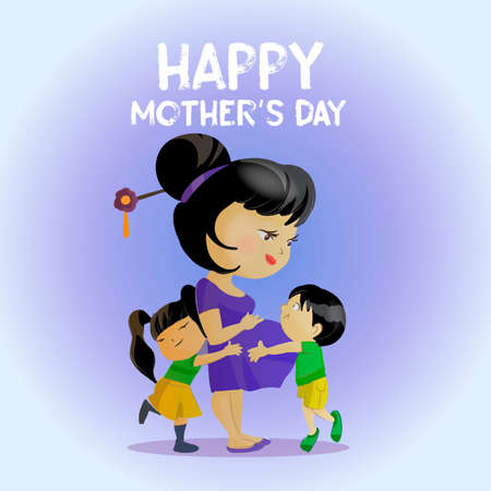 Happy Mother s Day Greeting Card. Cute cartoon illustration of mother with two kids. Asian mom with little Son and daughter.