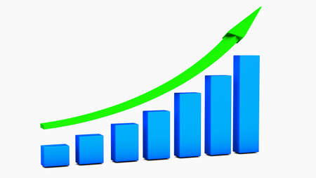 sales growth: Business growth Chart bars on a white background Stock Photo