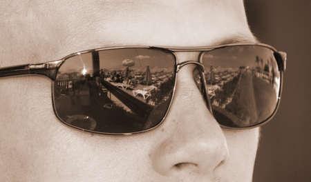 portret: Closeup portret of men in sunglasses on sunny days