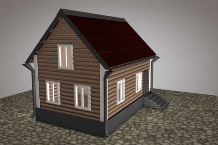 small roof: A small house with a red roof on a gray background