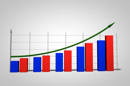 increment: Business growth Chart bars on a white background Stock Photo