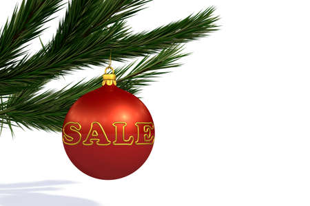 branche sapin noel: Red Christmas decoration ball sale on Christmas tree branch isolated on white