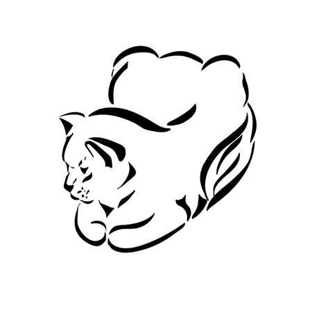 Figure cats black lines on a transparent background. Vector illustration.