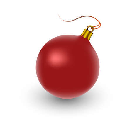 kerstbal rood: one red christmas ball over white background