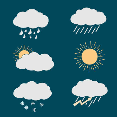 partly sunny: icon set weather contours on a dark background