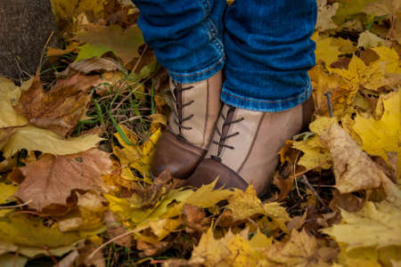 trendy girl: autumn, leaves, legs and shoes. Conceptual image of legs in boots on the autumn leaves. Feet shoes walking in nature Stock Photo