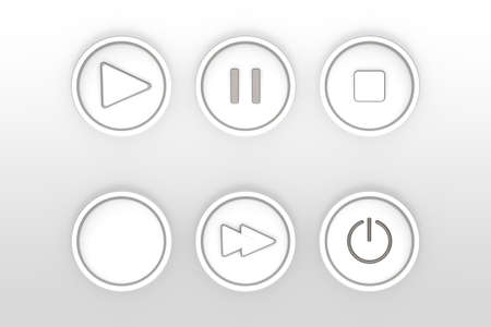playback: set of icons for web flat design outlines on a transparent background