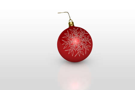 kerstbal rood: one red christmas ball with white snowflake over white background Stockfoto