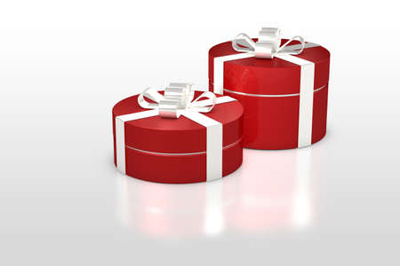 celebration event: red round gift box with white ribbon isolated on white background Stock Photo