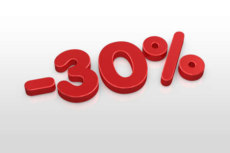 thirty: Red thirty percent discount symbol on a white background