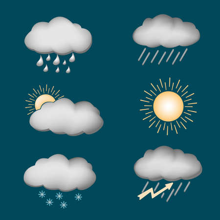 thunder storm: icon set weather contours on a dark background