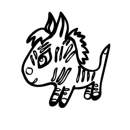 one of a kind: the little Zebra is made with black lines on a transparent background illustration