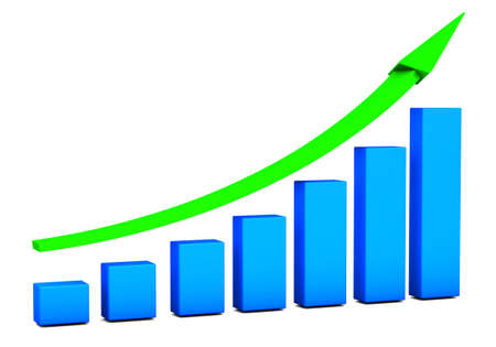 Business growth Chart bars on a white background Stock Photo