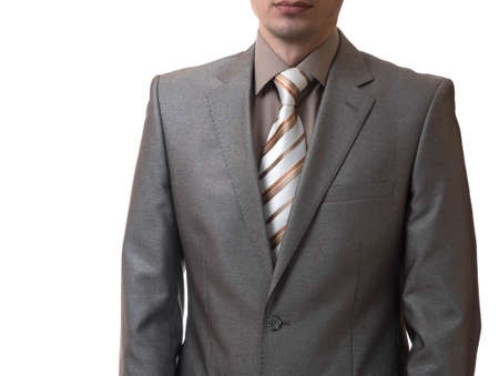 business attire teacher: man without head in a business suit on white background