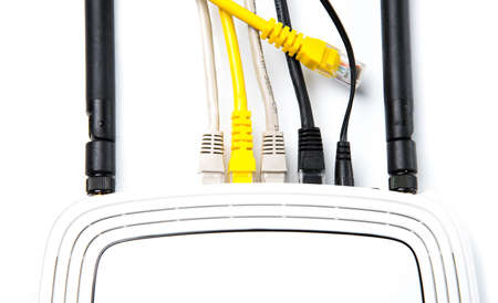 hidef: router with wires, cable, Internet, isolated on white background