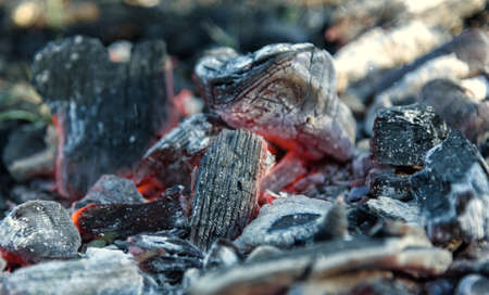 leavings: Texture embers closeup. Embers after a fire. Stock Photo