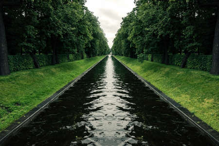 canal in the Park of symmetry between the trees on a cloudy day
