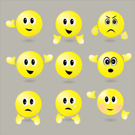 iconography: The Vector set of surround smileys with different emotions Illustration