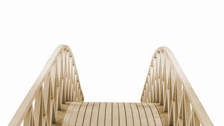 foot bridge: wooden Park foot bridge isolated on a white background