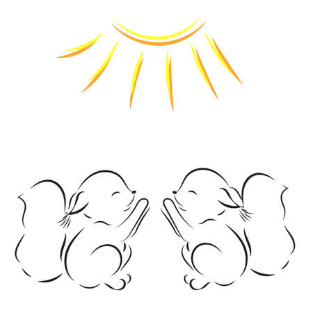 Coloring page. Vector outline drawing of two squirrels pulls legs to the sun Illustration
