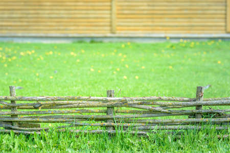A braided wooden fence made of thin branches in the countryside against a green lawn at the neat farm Stock Photo