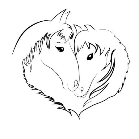 Two horses heads in the shape of a heart