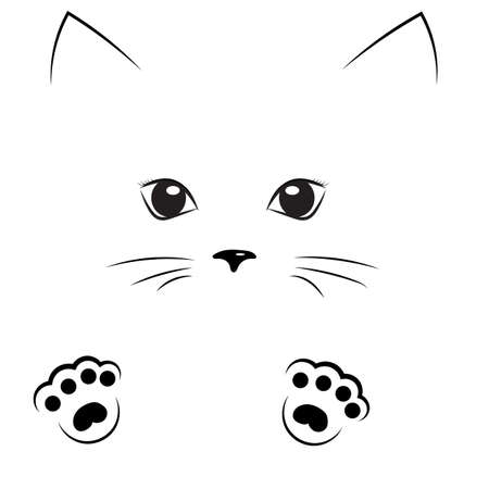 Vector black outline drawing cute cat girl face with paws