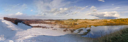 Panoramic landscapes. Collage change of seasons winter and autumn.