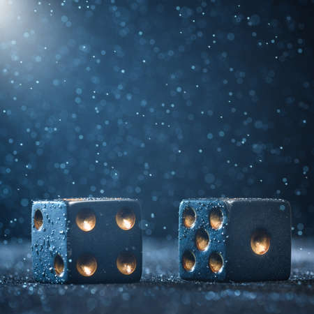 Horizontal shot of two black dice illuminated by bright light on a blue background. The concept of gambling.