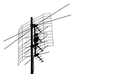 Indoor tv loop antenna over white background. Photo with copy space.