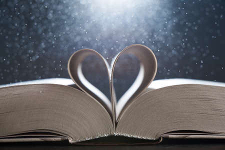 Horizontal shot of magical world of reading: magic book with pages transforming into heart. Stock Photo