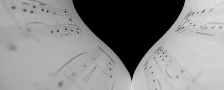Horizontal shot of part of the heart music notes. The black and white concept of the love of music.