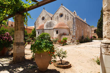Inner garden monastery of Arkadi, Crete, Greece