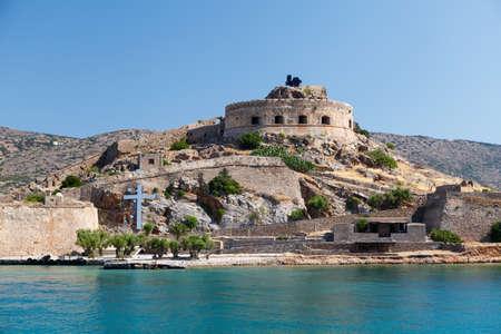 lepra: Creta Spinalonga Fortaleza Grecia - Colony �ltima vez activo Lepra Foto de archivo