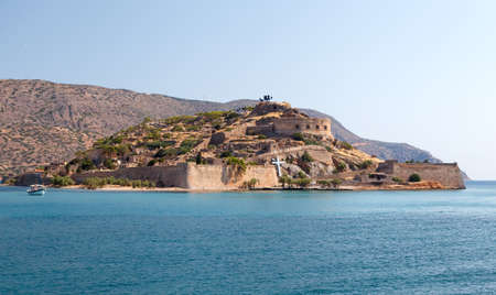 lepra: Creta Spinalonga Fortaleza Grecia - Colony Última vez activo Lepra Foto de archivo