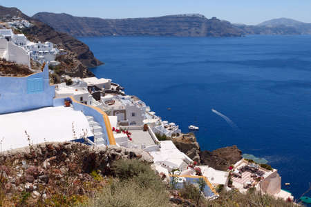 Idyllic view of Santorini. White architecture. Greece. photo