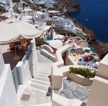 Stairs to the hotel on Santorini island, Greece photo