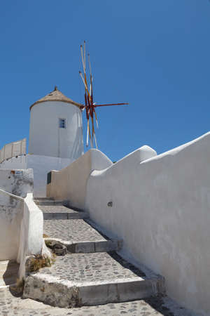 Stairs to the windmill on Santorini island, Greece photo