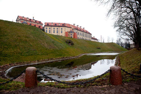 Side view to the Nesvizh Castle in Belarus