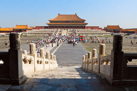 TIANJIN, CHINA  Tourist fill the vast grounds of the Taihedian Square inside the Forbidden City  Beijing, China