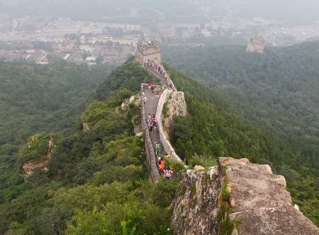 tourist spot: Tourist-spot at Great Wall of China under the fog