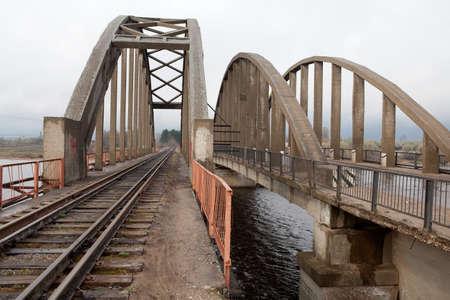riverside county: railway bridge through Volga river In Kalyazin  Russia