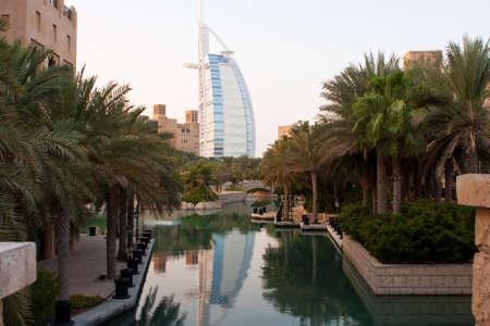 united arab emirate: beautiful dubai resort with burj al arab in background