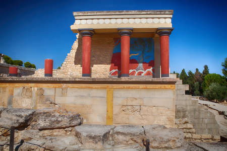 Knossos palace at Crete, Greece, is the largest Bronze Age archaeological site on Crete photo