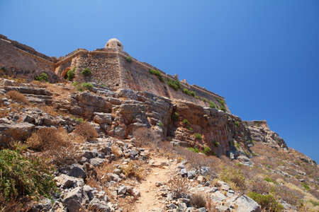 Gramvousa, a small island with the remains of a Venetian fort close to the coast of north-western Crete  photo