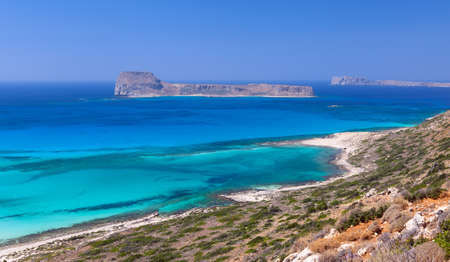 Gramvousa Island seen from Balos Beach in Crete, Greece  photo